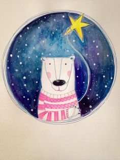 Original illustration of an adorable polar bear who is holding tight to his star to Guide him in the night.