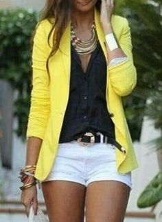 Yellow sweater, black buttondown, white bottoms, gold accessory accents