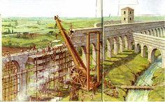 La costruzione delle arcate di un ponte o di un acquedotto richiedeva l'impiego di complesse macchine, descritte da molti autori latini
