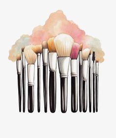 Makeup brush,watercolor ,png image,vector