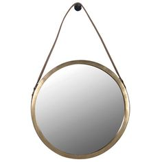 Round Mirror with Saddle Leather Strap, available at Browsers, Limerick, Ireland. www.browsers.ie