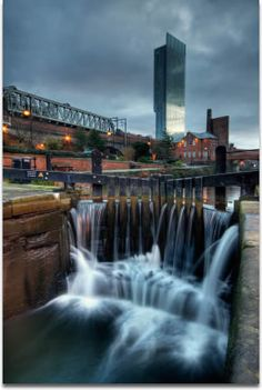 Beetham Tower in Manchester, England, UK. A waterfall too.