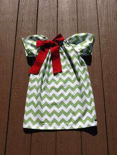 Girls Christmas Peasant Dress OR Top. Red Bow by EverythingSorella
