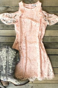 """Our """"Don't Be Cruel"""" Dress is so flattering! The lace detail and off the shoulder style makes any southern belle swoon! Off the shoulder, lace detail throughout, lined for coverage."""