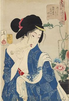 "JAPAN PRINT GALLERY: Looking Awake - Yoshitoshi Aspects of Women) - ""Looking as if she is waking up: the appearance of a maiden of the Koka era"" Japanese Art Prints, Japanese Painting, Japanese Geisha, Japanese Kimono, Japan Art, Vintage Wall Art, Gravure, Up Girl, Japanese Culture"