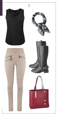 Definitvamente, éste look es lo que más va con la nueva temporada. ¿Qué te parece? #AndréBadi #VestirEsUnArte #Otoño2015 #Fall #Winter #ColecciónAB #boots #botas #handbag #leggins