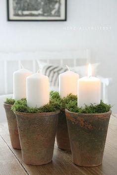 Really like this in the place of a traditional advent wreath. vielleicht selber betonieren und mit Zahlen drauf?