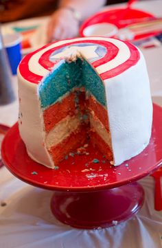 Captain America cake. I may be more likely to make you this one Ashley.
