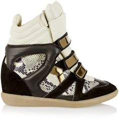 Étoile Isabel Marant Bonny suede and leather wedge sneakers (4.417.195 IDR) ❤ liked on Polyvore featuring shoes, sneakers, black, suede sneakers, colorful wedge sneakers, black hidden wedge sneakers, leather shoes and black leather sneakers