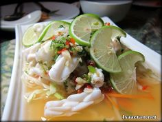 Steamed Squid with Chili and Lime Juice - RM28 http://www.isaactan.net/2012/08/samira-by-asian-terrace-sentul-park.html