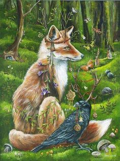 Fox and raven power animal totems. Fox Spirit, Animal Spirit Guides, Power Animal, Photo D Art, Fox Art, Animal Totems, Woodland Creatures, Whimsical Art, Fantasy Art