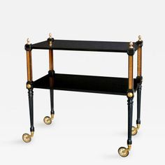 A Stylish French Regency Style Ebonized and Bronze Mounted Drinks Cart by