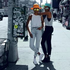 Take on the sidewalk like creative duo Coco and Breezy with bold accessories paired with casual streetwear from the #mycalvins Denim Series.