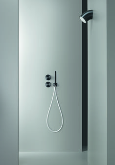 #CeaDesign's exclusive black finish for stainless steel results from a deposition process through evaporation. It emphasizes the natural qualities of the material, highlighting the satin or polished finish. A biocompatible film based on graphite and diamond powder increases the gloss and the hardness of the surface #bathroom