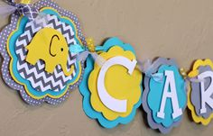 Elephant Chevron Stripe and Polka Dot ITS A BOY or NAME Banner Turquoise Blue Yellow and Gray Baby Shower Birthday Party Decorations Banner by PaisleyGreer on Etsy