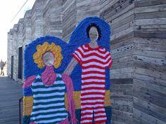 Yarn bombing on Hastings Pier