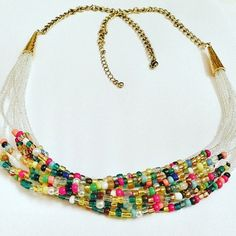 Multi-Strand Beaded Necklace  Rainbow Glitter by DuMoments on Etsy