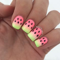 Ombre watermelon nails by @nails.by.teens