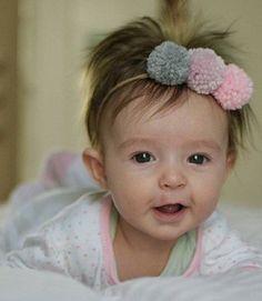 Baby pom pom headband toddler headwrap nylon pink by WhimsyWhiskey