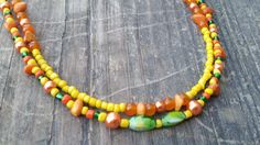 Summer Green Orange Yellow Double Necklace by WesternCowgirlDesign on Etsy