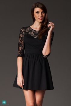 Rochie clos neagra cu insertie de dantela Embellished Dress, Dress Outfits, Dresses, Dress Making, Ready To Wear, Casual, How To Wear, Clothes, Black