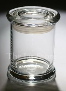 8 oz Libbey Status Jar With Flat Glass Lid from The Jar Store.  Great for home spa storage container!!