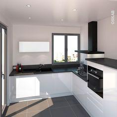 nice Idée relooking cuisine - Cuisine moderne blanche avec façade aux lignes design et sans poignée, implant...