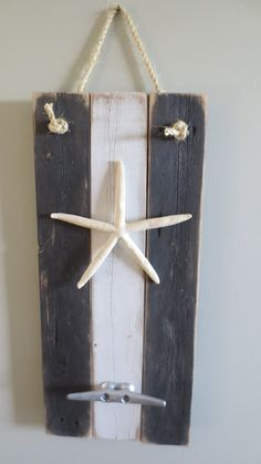 Black and White Starfish Wall Hanging upcycled recycled seaside decor ocean boat cleat coat hook nautical repurposed reclaimed beach beachy
