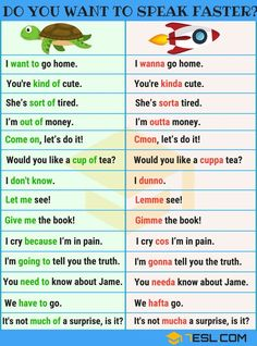You Want To Speak English Faster? Do You Want To Speak English Faster? Informal Contractions - 7 E S LDo You Want To Speak English Faster? Informal Contractions - 7 E S L Slang English, English Grammar Tenses, Teaching English Grammar, English Verbs, English Writing Skills, English Vocabulary Words, Learn English Words, English Phrases, English Language Learning