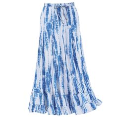 "Bleu et Blanc Maxi Skirt  Exclusive! Bleu et Blanc. Tie-dyed to twirl in! The tiered hem assures this maxi's flair! Elasticized, drawstring waist; lined. 100% cotton voile. Hand washable. Imported. Color: French Blue/White. Sizes: S (6-8), M (10-12), L (14-16), XL (18), 1X (18W), 2X (20W-22W), 3X (24W-26W); 38"" long (approx.). 	   ****"