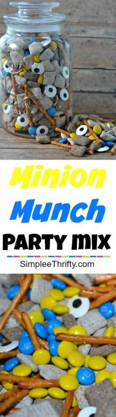 Despicable Me Birthday Party? Check out this Minion Munch Party Mix! Quick and easy snack to treat that will fit perfect with your party decor.