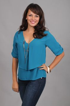 LOOSELY LAYERED TOP, TEAL...AHHH simply fantastic! The fit and color of this top are both perfect. This is one of those tops that can go either way...you can dress it up or down! Just pair it with jeans like Page did for a casual look, or pair it with a skirt and wear it to the office:)