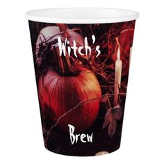 Rustic Halloween Pumpkin and Candles Paper Cup - halloween decor diy cyo personalize unique party