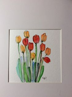 Spring Tulips Watercolor Card / Hand Painted Watercolor Card