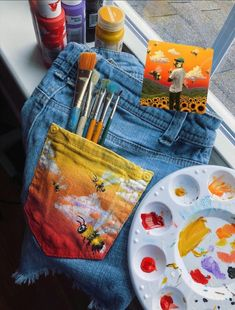 tyler the creator jean pocket painting ft. tyler the creator Painted Jeans, Painted Clothes, Painted Shorts, Diy Clothing, Custom Clothes, Denim Kunst, Kleidung Design, Diy Locker, Denim Art