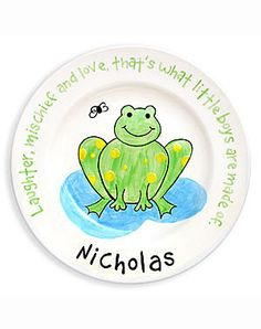 Boys Frog Personalized Ceramic Plate