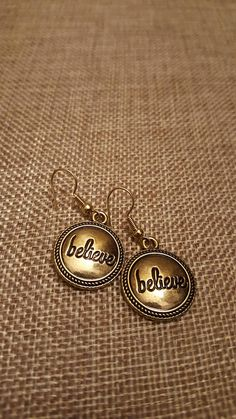 Gold Believe Earrings that are the perfect addition to your daily outfit! Help yourself and others know that everything is possible with a positive attitude! I offer FREE Shipping on all my jewelry so please shop, shop, shop! I am available via email to answer all questions about my products. myspecialteagifts@gmail.com #etsy #dealoftheday #pinterest #freeshipping #bridesmaidsgifts #topseller #newitems #under20dollars #sales #jewelry #gifts