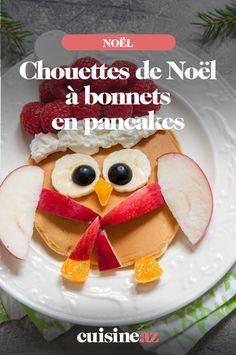 Ces pancakes en forme de chouette de Noël avec un bonnet sont un dessert à préparer avec les enfants. #recette#cuisine#pancakes#enfant #noel#fete#findannee #fetesdefindannee Pancakes, Macaron, Breakfast, Desserts, Christmas, Nutrition, Xmas, Queso Blanco, Truffle