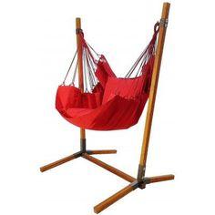 Hangstoel rood met standaard