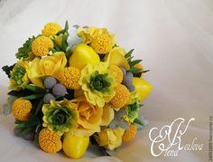 Купить букет невесты с лимоном, желтый из полимерной глины - желтый, лимон, лимонный цвет
