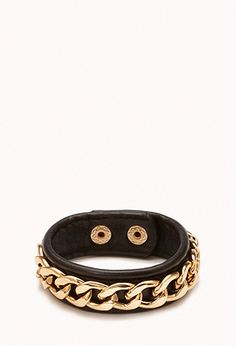 Faux Leather Chain Wrap Bracelet   FOREVER21 - 1077931578