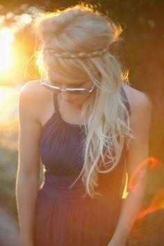 Hippy bohemian hair, Greek style dress, aviators