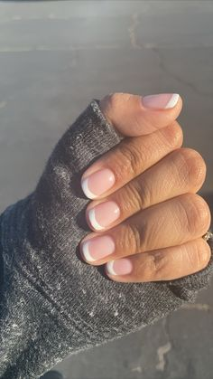 French Manicure Gel Nails, Gel Manicure Designs, French Tip Nails, Natural French Manicure, Casual Nails, Stylish Nails, Pretty Gel Nails, Cute Nails, Short French Nails
