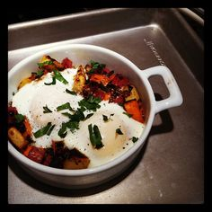 for breakfast this weekend - Baked Eggs over Sweet Potato and Corned Beef Hash