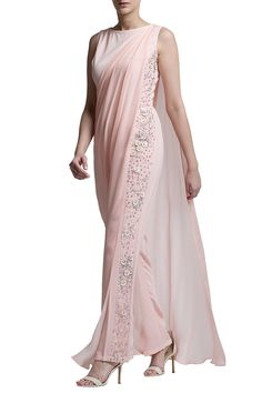 Shop Bhaavya Bhatnagar - Blush pink drape jumpsuit Latest Collection Available at Aza Fashions Western Dresses, Indian Dresses, Indian Outfits, Indian Designer Outfits, Designer Dresses, Moda India, Saree Gown, Sari Blouse Designs, Indian Attire