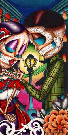 Love Street by Dave Sanchez Mexican Sugar Skull Lover Canvas Art Print Photo Canvas, Canvas Art, Canvas Prints, Art Prints, Los Muertos Tattoo, Sugar Skull Artwork, Sugar Skulls, Catrina Tattoo, Day Of The Dead Skull