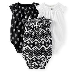 3-Pack Ruffle-Sleeve Bodysuits. Carters black and white