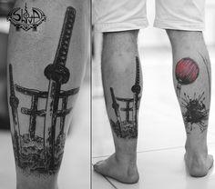 #tattoo #art #dotwork #lineart #black #blackwork #warrior #war #sun #japan #samurai #katana