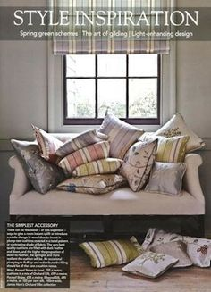 Advert from national interiors magazine, Ashburn Silks by James Hare -all products show in image made for James Hare by Vanilla Interiors - www.vanillainteriors.co.uk Spring Green, Spring Colors, Silk Wallpaper, Interiors Magazine, Decor Styles, Color Schemes, Cushions, Throw Pillows