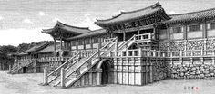 [김영택 화백의 세계건축문화재 펜화 기행] 경주 불국사 대석단과 자하문 - 중앙일보 뉴스 Ink Pen Drawings, Drawing Sketches, Korean Traditional, Traditional House, Terraria, Pen Sketch, Historical Photos, Old Photos, Scenery
